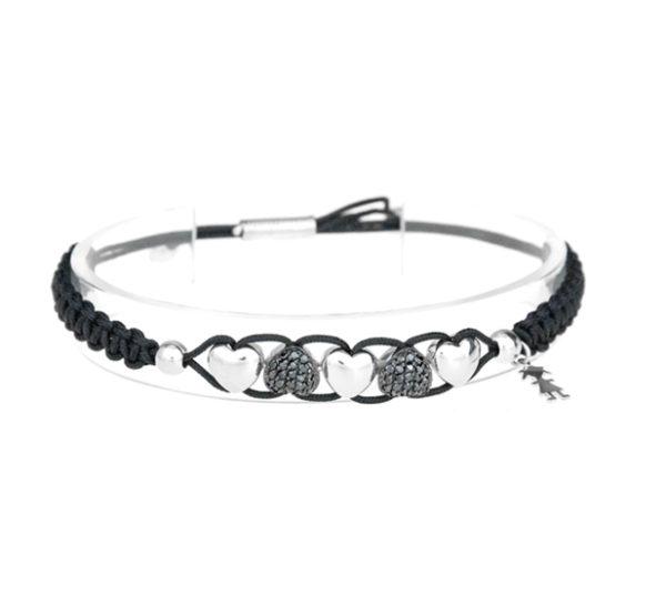 bracciali cuori argento e nero